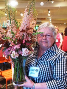 "Lonny Boender and her ""prize"" bouquet - enjoy!"