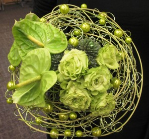 Alexis MacLeod, owner and designer at Simply Perfect Flowers in Abbotsford, BC, created this gorgeous, green wired bouquet.